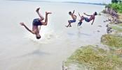 Children having a refreshing jump