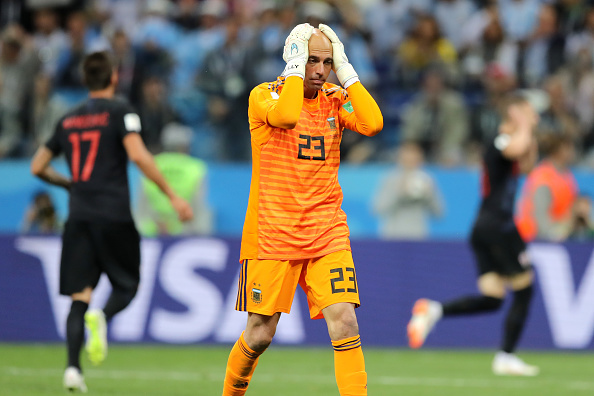 Argentinian keeper Caballero hit hard by his error
