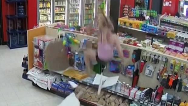 Cameras capture every angle of Canadian couple's snack-throwing, ceiling-shattering arrest (Video)