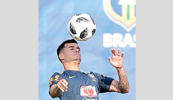 Brazil forward Philippe Coutinho controls
