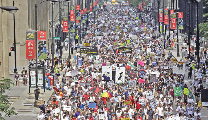 Thousands march against US immigration policy