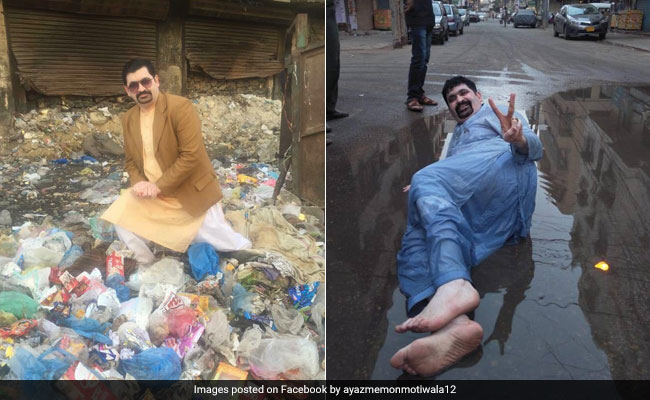 Karachi politician sits in sewage, pile of garbage to ask for votes