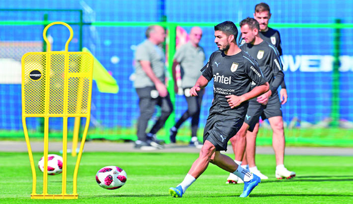 Uruguay forward Luis Suarez attends a training session