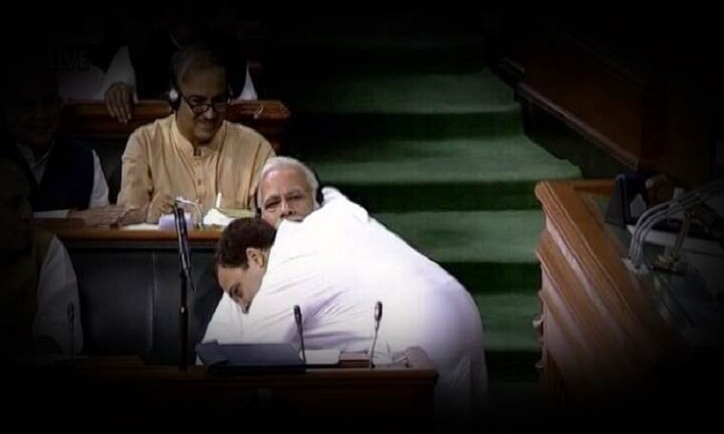 Rahul Gandhi hugs PM Modi and his Congress is as surprised as BJP