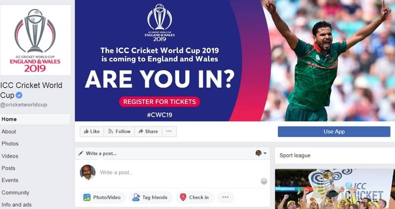 Mashrafe's picture featuring ICC WC fan page