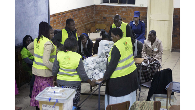 Zimbabwe awaits results as election officials count ballots