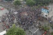 University students block Shahbagh protesting Saturday's attacks