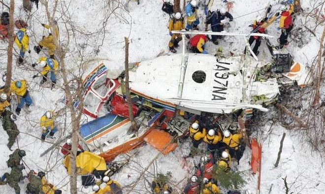 Helicopter with nine aboard crashes in central Japan
