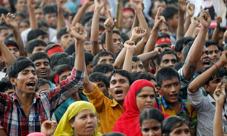 Ready-made Garment workers demand half salaries of August before Eid