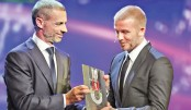 Beckham honoured at UEFA president's award