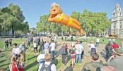 A large balloon depicting London Mayor Sadiq Khan