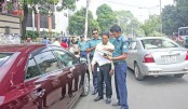 Traffic policeman examining necessary documents