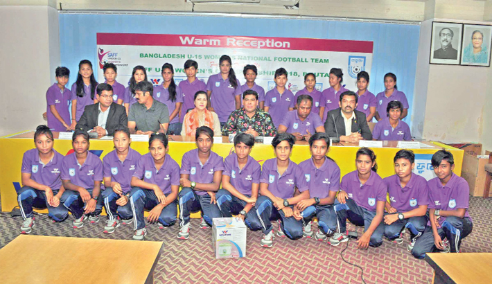 U-15 women's football team accorded grand reception