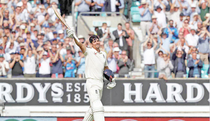 Alastair Cook scores century in his final Test