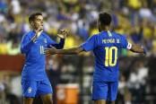 Neymar gets goal, yellow card for diving as Brazil romps 5-0