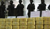 Thai police show off seizures of meth, heroin, marijuana