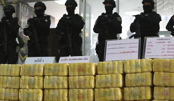Thai police show off seizures of meth, heroin, marijuana