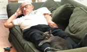 'Cat Grandpa' goes viral for napping with shelter pets