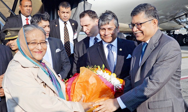 Prime Minister Sheikh Hasina arrives in New York to attend UNGA
