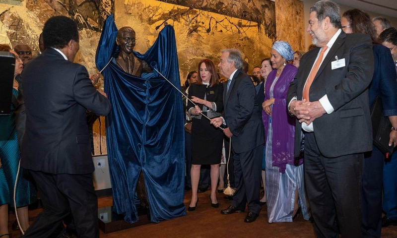 Nelson Mandela statue unveiled at UN headquarters