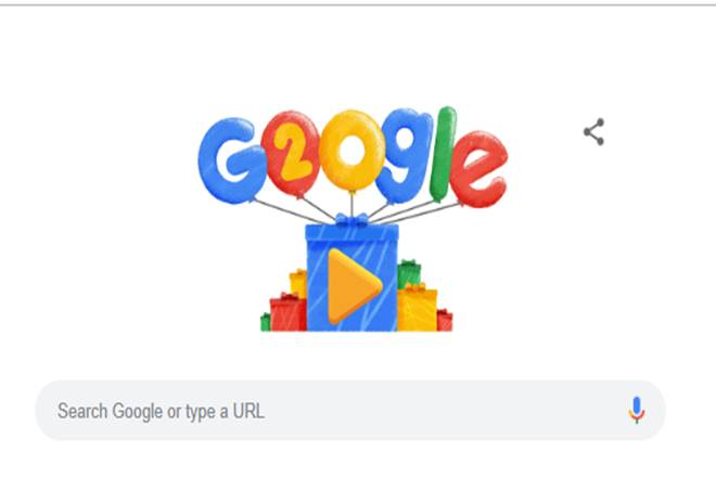 Google Doodle celebrates search giant's 20th birthday