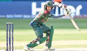 Mehidy Hasan Miraz plays a shot during their Asia Cup final