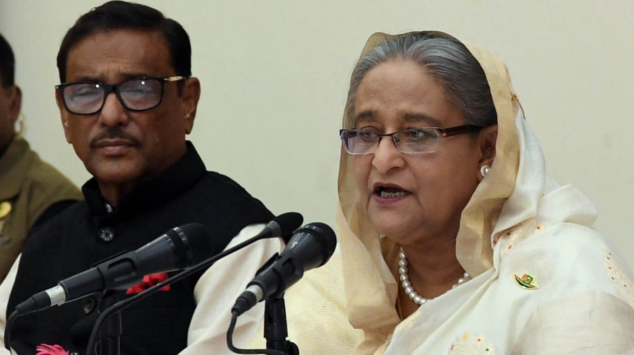 Prime Minister addressing press conference on her recent US visit
