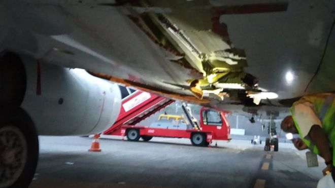 Air India plane hits wall on take-off