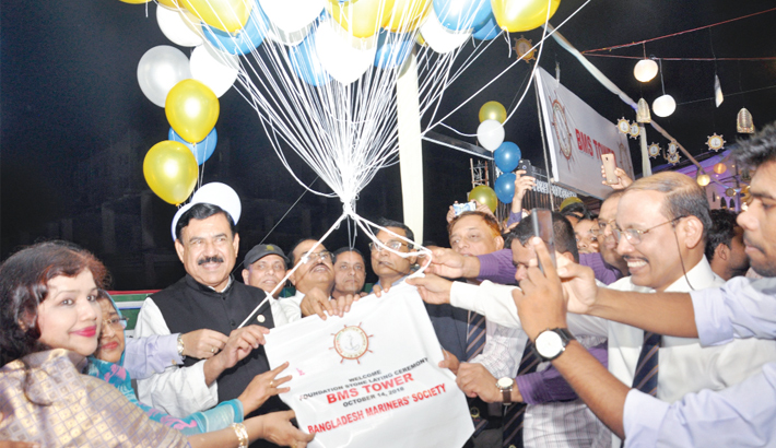 Releases balloons after laying the foundation stone