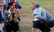 Royal tour: Prince Harry gets his beard rubbed