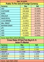 Taka gains against pound, euro
