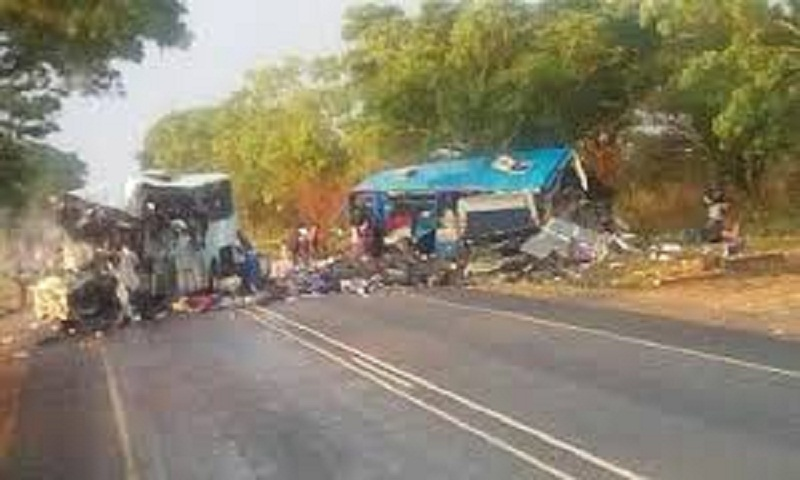 Head on collision between 2 buses kills 45 in Zimbabwe