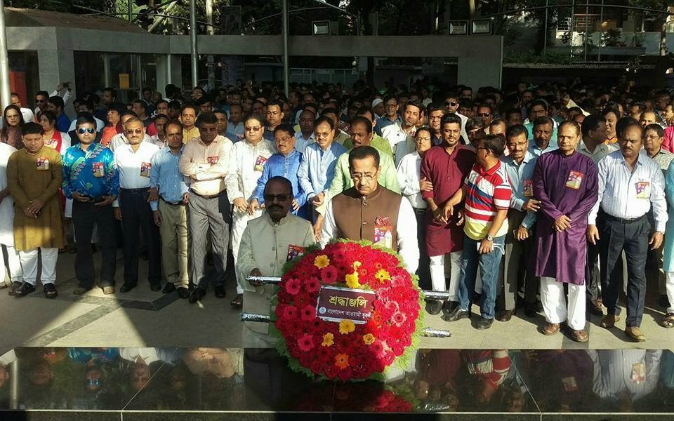 46th founding anniversary: Jubo League pays tributes at Bangabandhu portrait