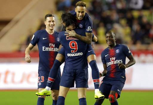 PSG routs Monaco 4-0 to win 13th straight league game