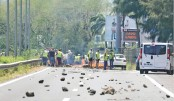 Protesters block a road on Monday in Saint-Denis-de-la-Reunion