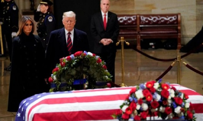 George HW Bush funeral: Trump pays respects at US Capitol