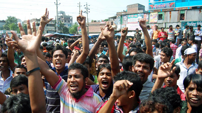 RMG workers stage demo in Gazipur for salary hike