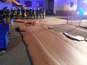 German chocolate factory spill turns street into Willy Wonka Way