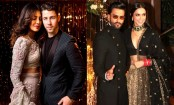 Deepika Padukone and Ranveer Singh dance with Priyanka Chopra at her reception