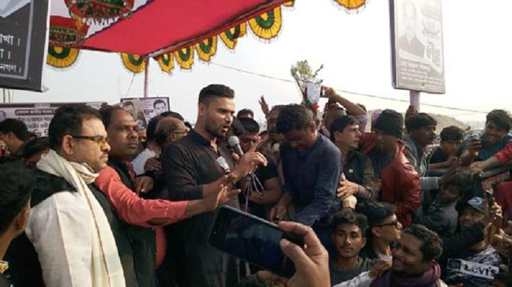 Mashrafe addresses poll rallies in Narail