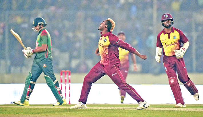 Celebrates after dismissing Bangladesh captain Shakib Al Hasan