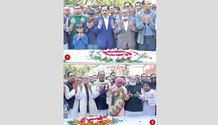 Placing a wreath at the grave of Father of Nation of Bangabandhu Sheikh Mujibur Rahman