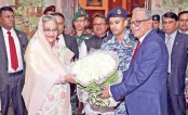 President Abdul Hamid greets Sheikh Hasina
