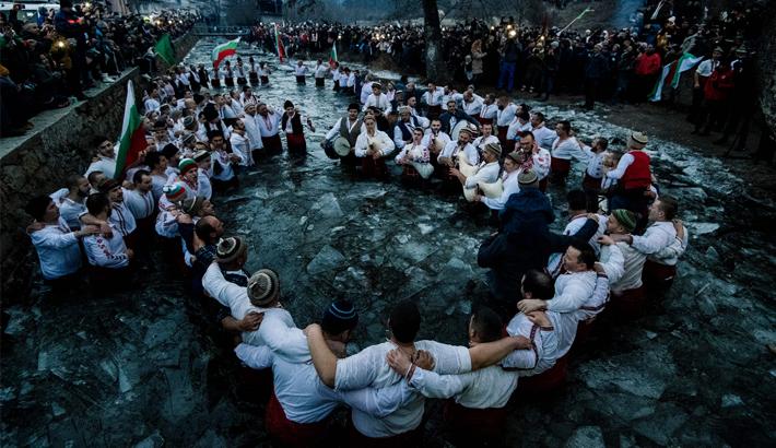 "Bulgarian men perform the traditional ""Horo"" dance"