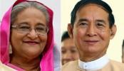 Myanmar president greets Sheikh Hasina
