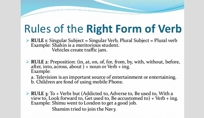 Teaching right forms  of verbs