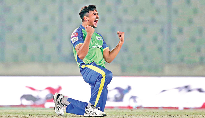 Taskin Ahmed celebrates after taking a wicket against Dhaka Dynamites