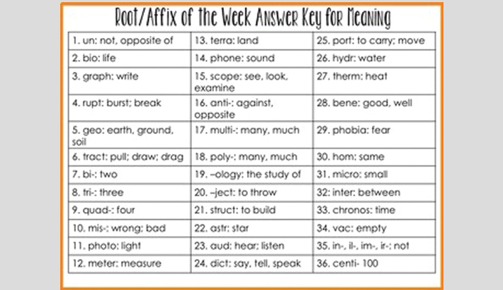 Learning affixes to  enrich vocabulary