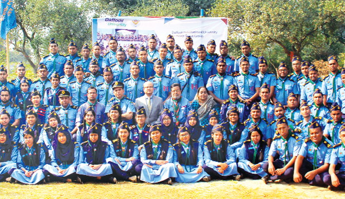 Oath taking ceremony  of DIU Air Rover Scout Group held