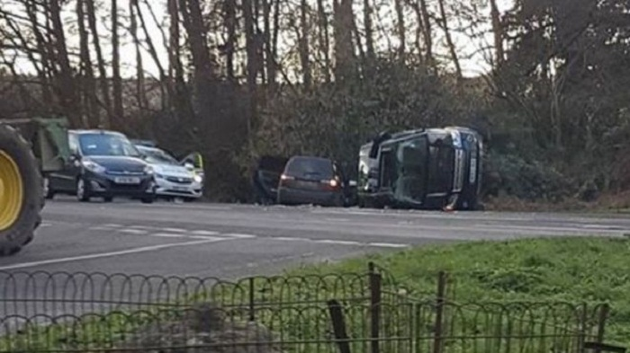 Prince Philip unhurt in crash while driving
